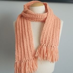 Peach knit scarf
